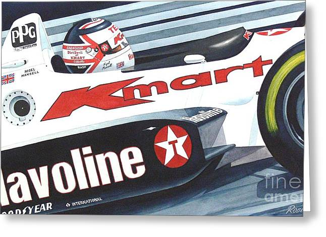 Indy Car Greeting Cards - The Lion Greeting Card by Robert Hooper
