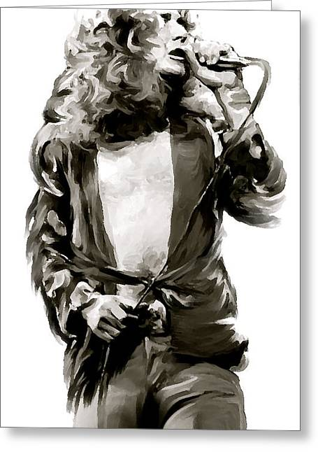 Roberts Drawings Greeting Cards - The Lion  Robert Plant Greeting Card by Iconic Images Art Gallery David Pucciarelli