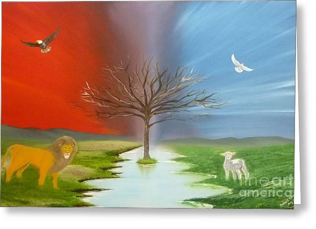 Jesus The Lion Of Judah Greeting Cards - The Lion the Lamb the Eagle and the Dove Greeting Card by Reuben Edwards