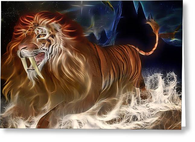 Immersed Greeting Cards - The Lion Tiger Greeting Card by Mountain Dreams