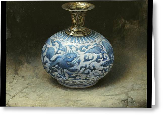 Asian Ceramics Greeting Cards - The Lion Vase Greeting Card by Bruno Capolongo