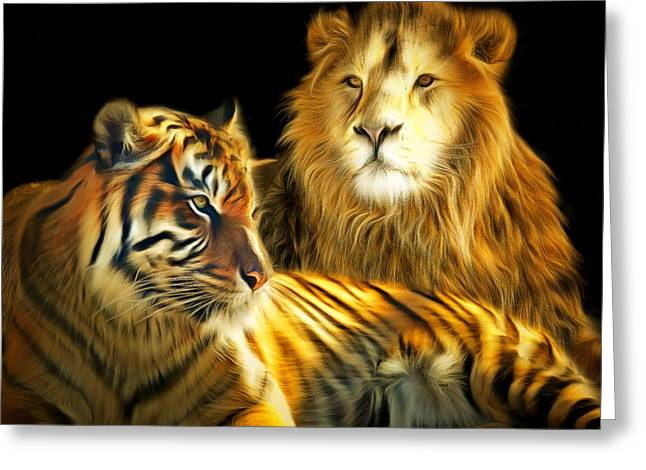 The Tiger Greeting Cards - The Lions Den 201502113-2brun square Greeting Card by Wingsdomain Art and Photography