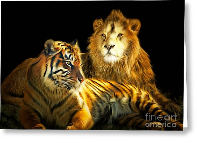 The Amazons Greeting Cards - The Lions Den 201502113-2brun Greeting Card by Wingsdomain Art and Photography