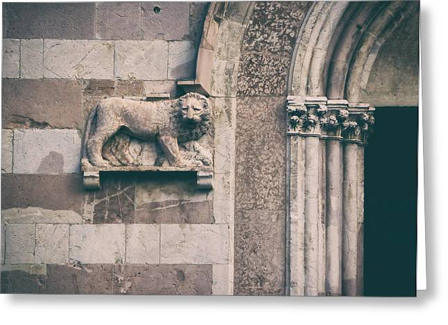 Statue Portrait Photographs Greeting Cards - The lions den.. Greeting Card by A Rey