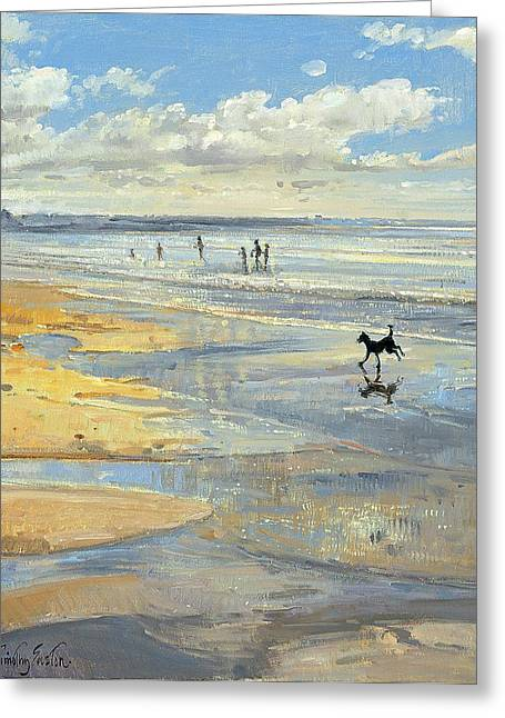 Dog Running. Greeting Cards - The Little Acrobat Oil On Canvas Greeting Card by Timothy Easton