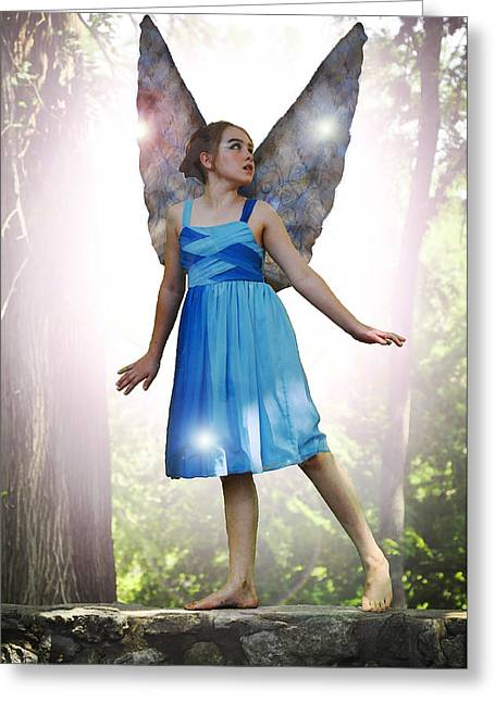 Angela Castillo Greeting Cards - The Little Blue Fairy Greeting Card by Cherie Haines