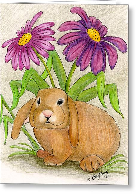 Wild Life Drawings Greeting Cards - The little bunny Greeting Card by Eva Ason
