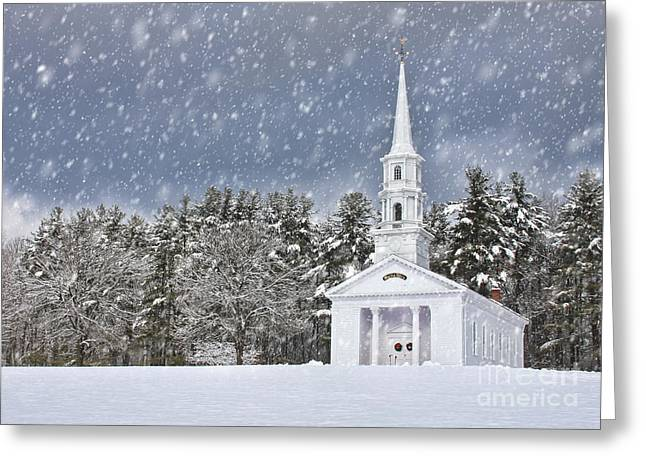 Sudbury Ma Greeting Cards - The Little Chapel in Winter Greeting Card by Jayne Carney