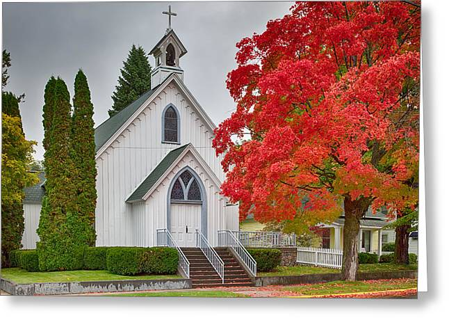 Wooden Stairs Greeting Cards - The Little Church Shines Bright Greeting Card by John Bailey