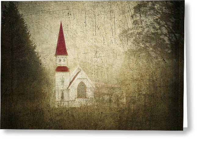White Church Greeting Cards - The Little Church That Sits Upon A Little Hill Greeting Card by Constance Fein Harding