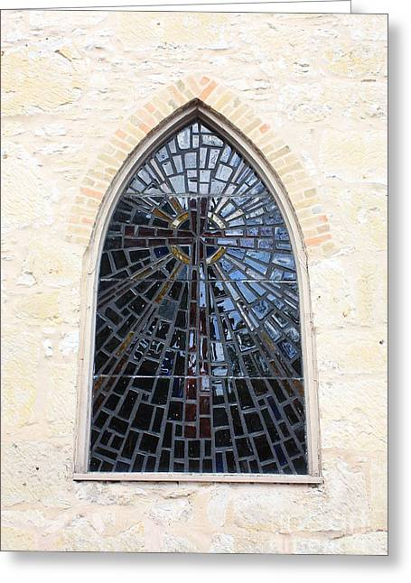 La Villita Greeting Cards - The Little Church Window Greeting Card by Carol Groenen