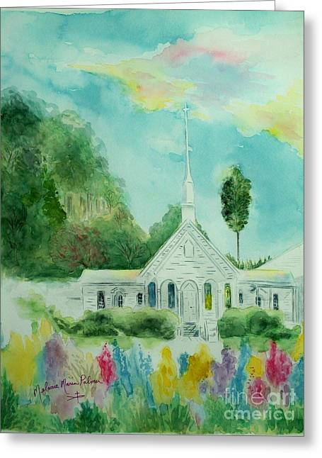 The Little Country Church Greeting Card by Melanie Palmer