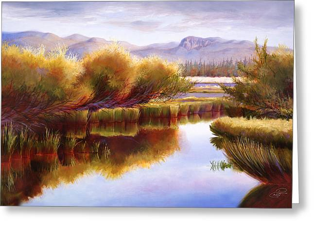 Pat Cross Greeting Cards - The Little Deschutes Greeting Card by Pat Cross