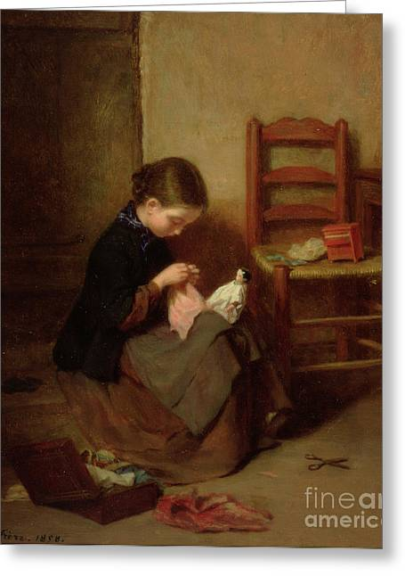Sewing Rooms Greeting Cards - The Little Dressmaker Greeting Card by Pierre Edouard Frere