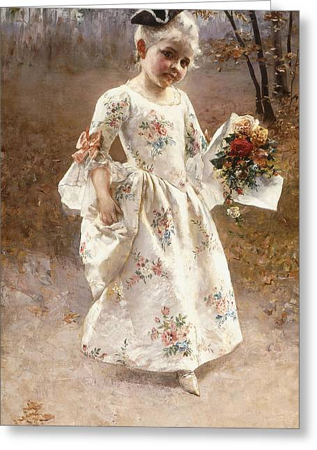 Youthful Paintings Greeting Cards - The Little Flower Girl  Greeting Card by Albert Raudnitz