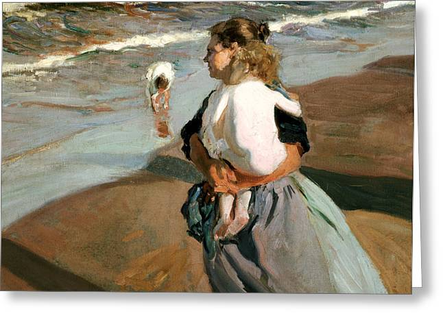 Grandmother Greeting Cards - The Little Granddaughter Greeting Card by Joaquin Sorolla y Bastida