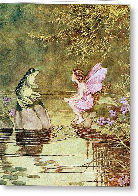 Fairyland Greeting Cards - The Little Green Road to Fairyland  Greeting Card by Ida Rentoul Outhwaite