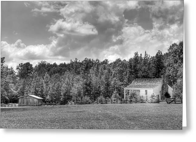 Barn In Woods Photographs Greeting Cards - The Little House on the Prairie Black and white Greeting Card by Gerald Adams