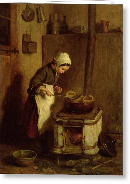 Hob Greeting Cards - The Little Housekeeper Greeting Card by Pierre Edouard Frere