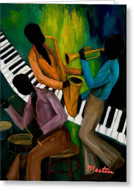 Afro-american Paintings Greeting Cards - The Little Jazz Trio II Greeting Card by Larry Martin