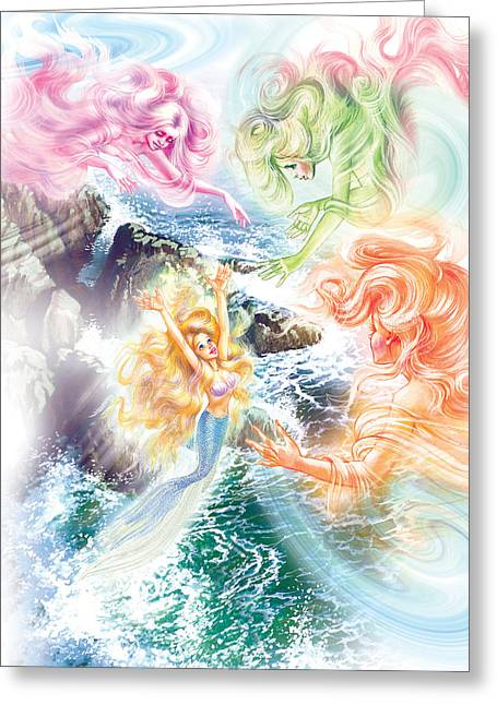The Little Mermaid Greeting Cards - The Little Mermaid And Wind Daughters Greeting Card by Zorina Baldescu