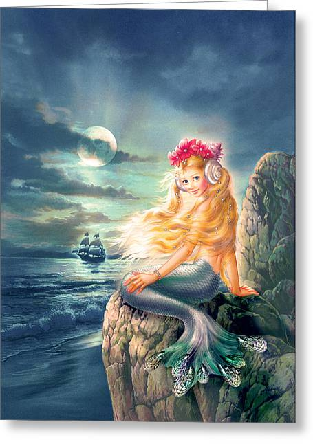 The Little Mermaid Greeting Cards - The little Mermaid Greeting Card by Zorina Baldescu
