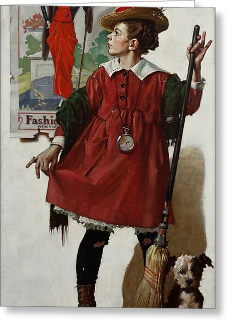 Norman Drawings Greeting Cards - The Little Model by Norman Rockwell Greeting Card by Nomad Art And  Design