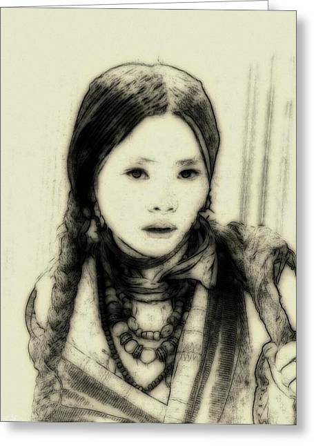 Wander Greeting Cards - The little nomad girl Greeting Card by Gun Legler