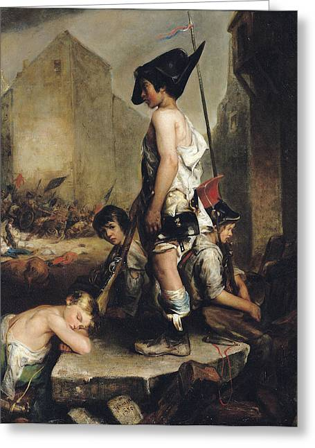 Les Greeting Cards - The Little Patriots, 1830 Oil On Canvas Greeting Card by Philippe Auguste Jeanron