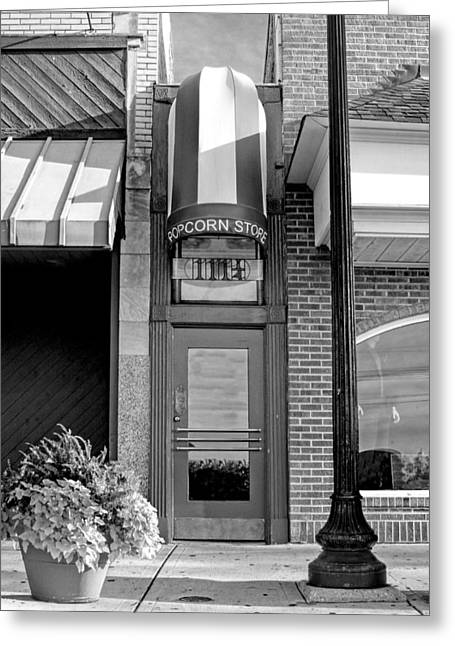 Little Greeting Cards - The Little Popcorn Shop in Wheaton Black and White Greeting Card by Christopher Arndt
