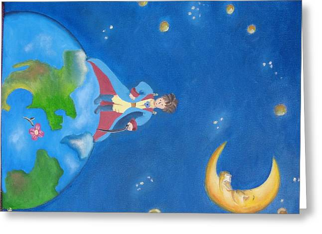 Princes Greeting Cards - The little Prince Greeting Card by Yenni Castillo