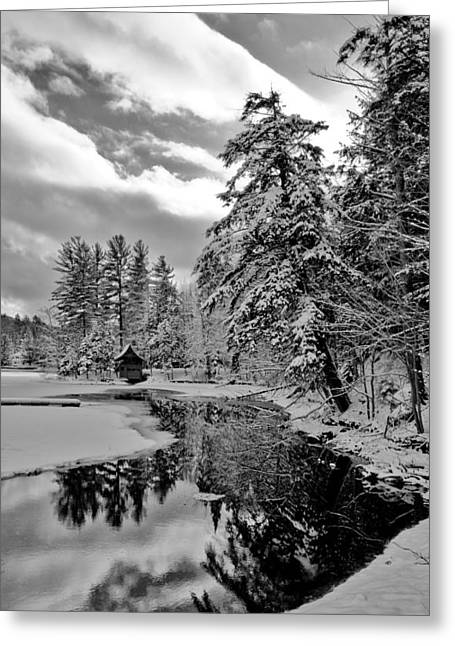 Lack And White Greeting Cards - The Little Red Boathouse in Old Forge Greeting Card by David Patterson