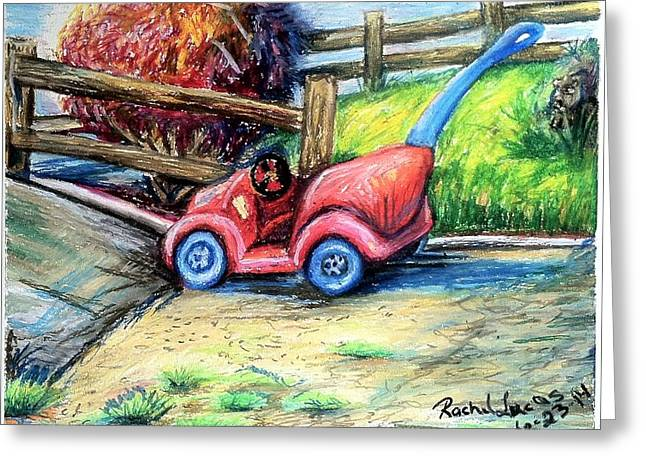 Farmer Pastels Greeting Cards - The Little Red Buggy Greeting Card by Rachel Lucas