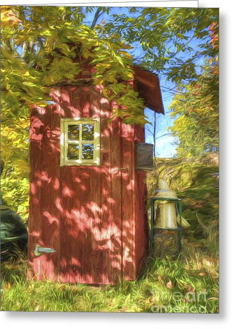 Gold Leave Greeting Cards - The little red house Greeting Card by Veikko Suikkanen