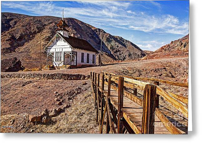Shack Greeting Cards - The Little School House on the Hill Greeting Card by Leanne Howie