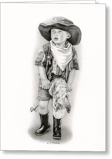 Ranch Life Greeting Cards - The Little Sheriff Greeting Card by Sarah Batalka