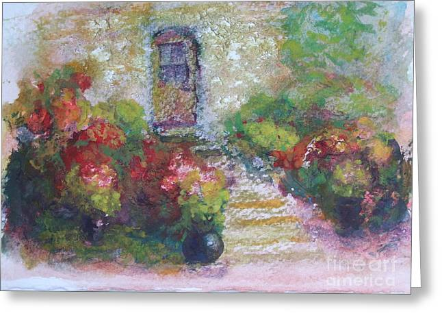 Paysage A L Greeting Cards - The little stone house with flowers Greeting Card by Pierre Robillard