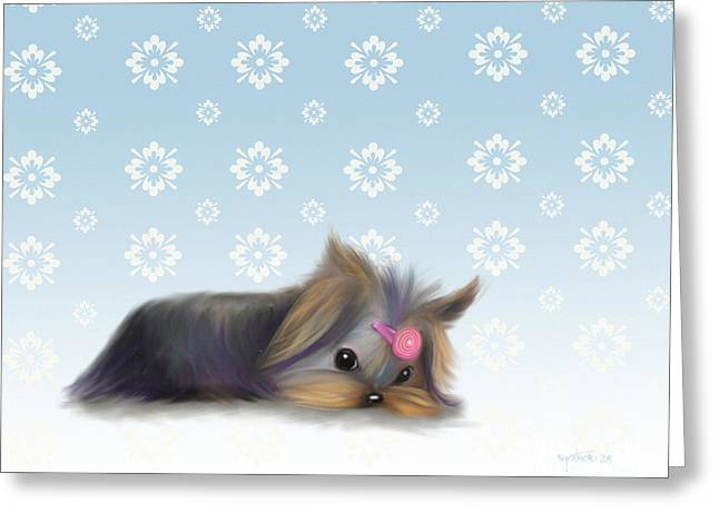 Puppies Mixed Media Greeting Cards - The little thinker  Greeting Card by Catia Cho