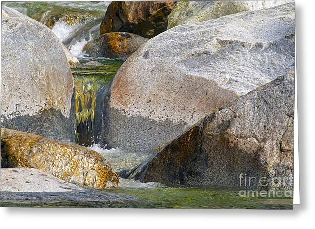 Boulder - Rock Greeting Cards - The Little Waterfall 2a Greeting Card by Sharon  Talson