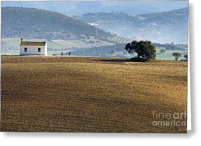 Heiko Koehrerwagner Greeting Cards - The Little White House in the Fields Greeting Card by Heiko Koehrer-Wagner