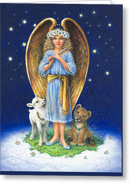Lion Lamb Greeting Cards - The Littlest Angel Greeting Card by Lynn Bywaters
