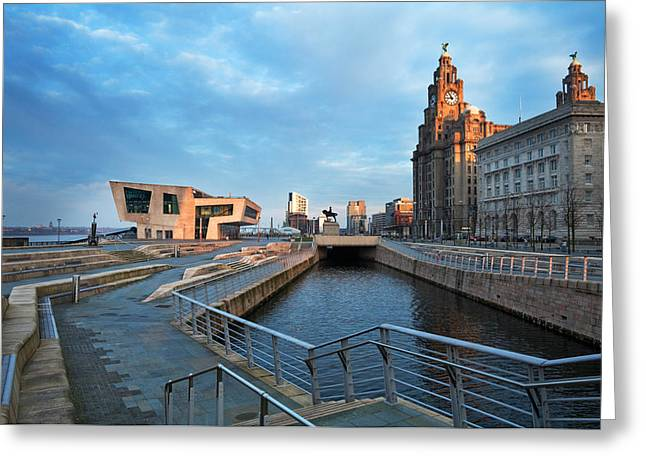 Contemporary Photography Greeting Cards - The Liver Buildings And The New Pier Greeting Card by Panoramic Images