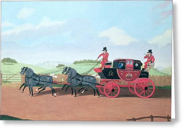 Postal Service Greeting Cards - The Liverpool And London Royal Mail Coach, 1812 Oil On Canvas Greeting Card by James Pollard