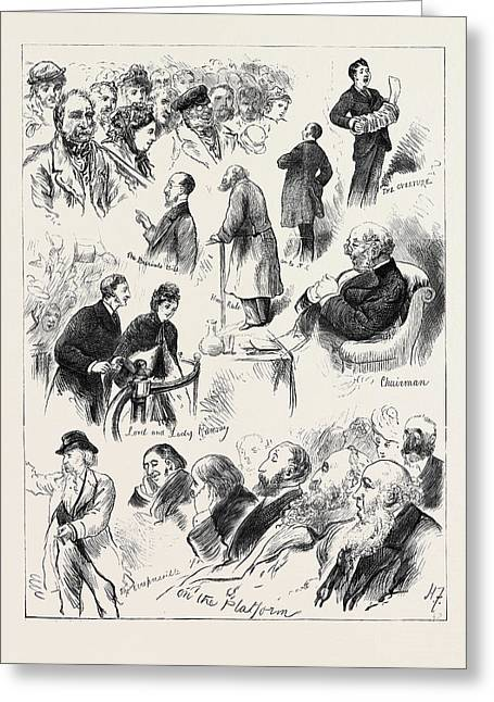 The Liverpool Election A Ward Meeting 1880 Greeting Card by English School