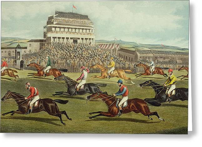 Finishing Greeting Cards - The Liverpool Grand National Steeplechase Coming In Greeting Card by Charles Hunt and Son