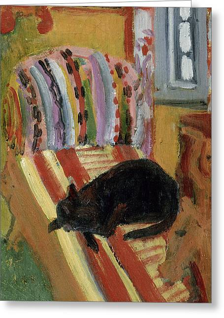 Chaise Longue Greeting Cards - The Living Room, 1920 Oil On Canvas Detail Of 148757 Greeting Card by Ernst Ludwig Kirchner