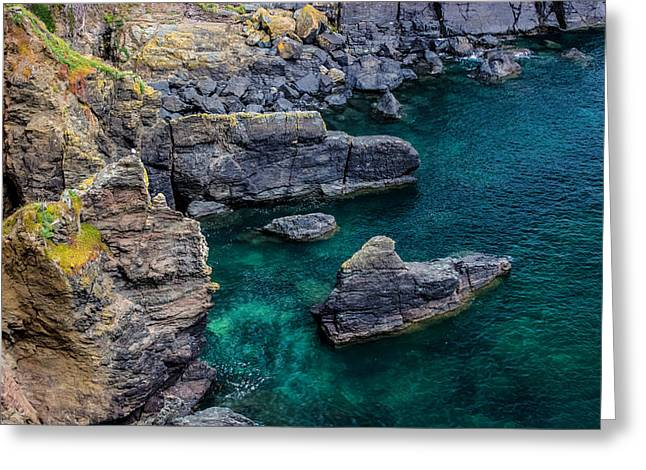 Rock Face Greeting Cards - The Lizard Cornwall Greeting Card by Martin Newman
