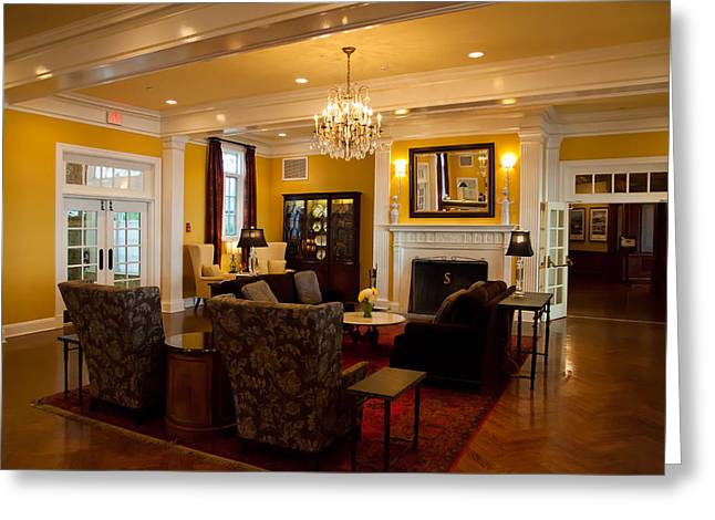The Lake George Greeting Cards - The Lobby Fireplace at the Sagamore Resort Greeting Card by David Patterson