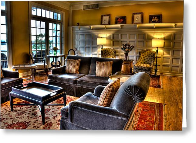 The Lake George Greeting Cards - The Lobby in the Sagamore Greeting Card by David Patterson