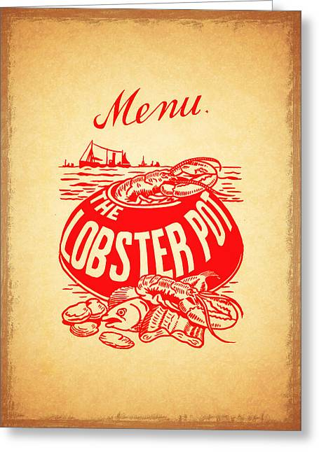 Menu Photographs Greeting Cards - The Lobster Pot 1960s Greeting Card by Mark Rogan